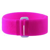 Bracelets auto-agrippants fluo avec passant rose
